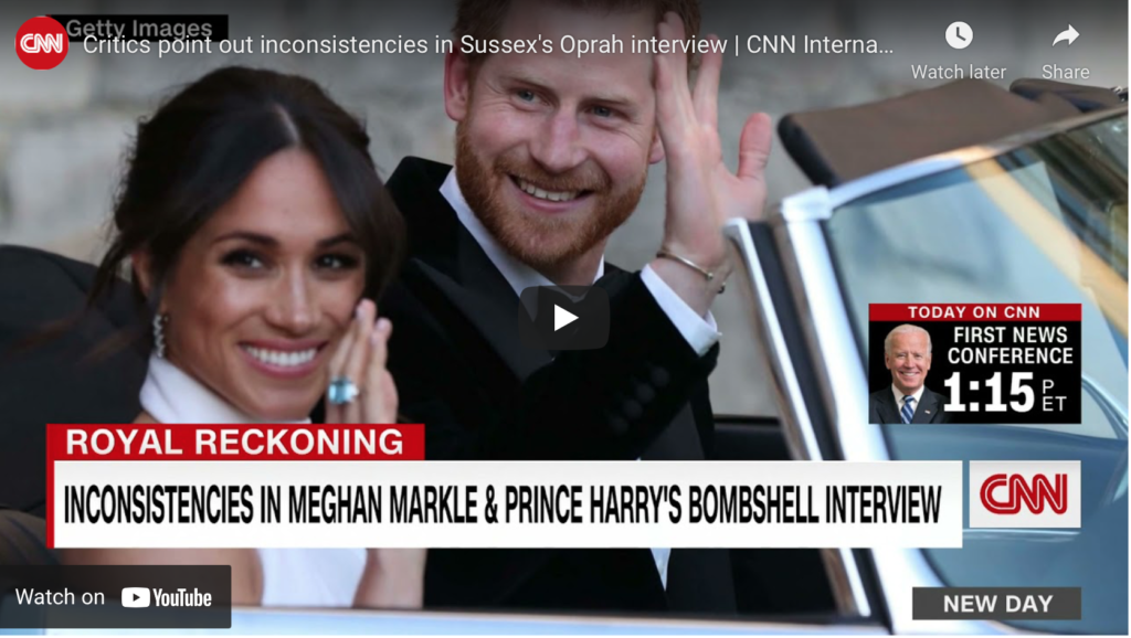 Rich results on Google's SERP when searching for 'Meghan Markle CNN inconsistencies'
